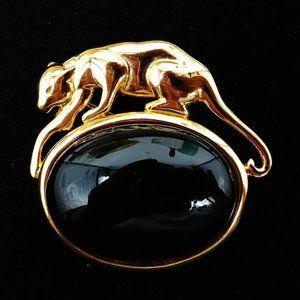VTG Napier Black Oval Cabochon Gold Panther Brooch